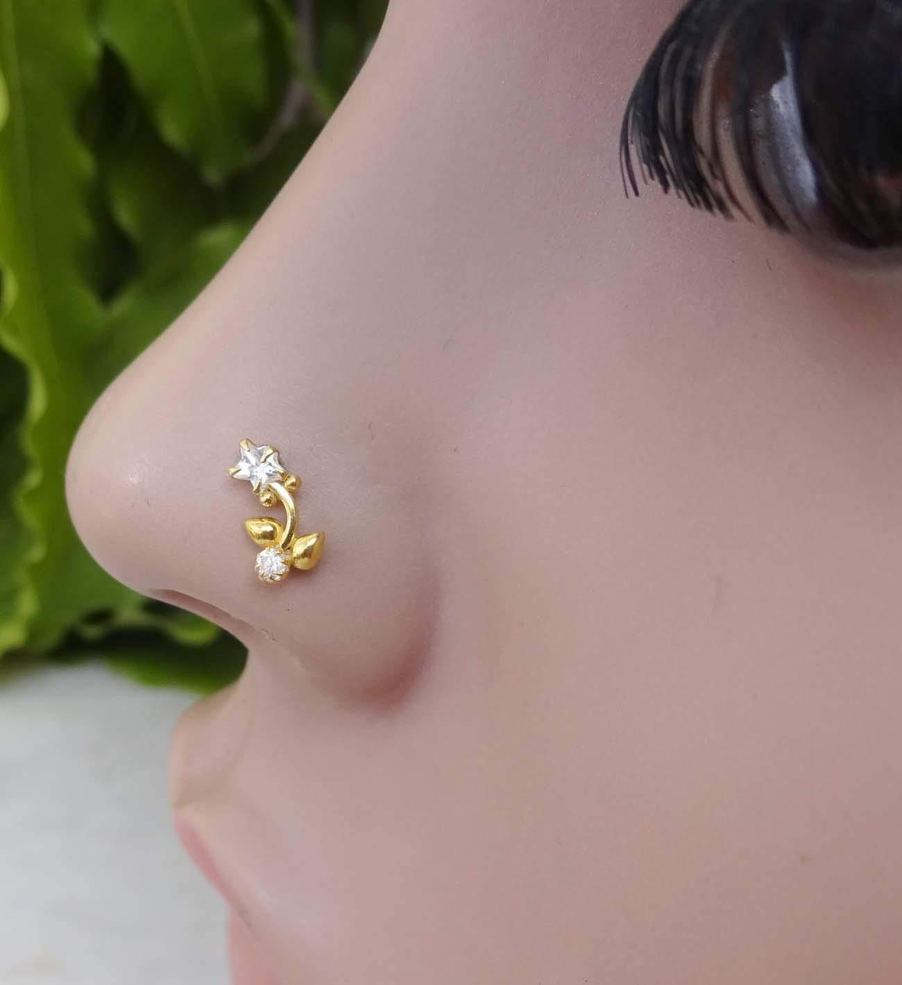TEJ088 Star Crystal Gold Nose Piercing,Gold Nose Stud,Flower Nose Stud,Thanksgiving Diamond Nose Stud,Indian Nose Stud,925 Sterling Silver Nose Stud,CZ Nose Bone,Crock Screw Nose Stud