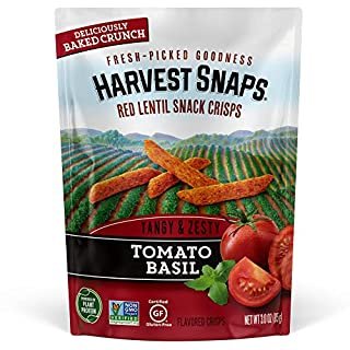 Harvest Snaps Red Lentil Snack Crisps Tomato Basil, 3.0 oz (Pack of 12). Plant-based | Baked, never fried | Certified Gluten-Free