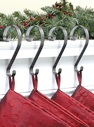 Stocking Scrolls 4-PACK Stocking Hanger Set (Embossed Holly-Pewter) (Mantel Christmas)
