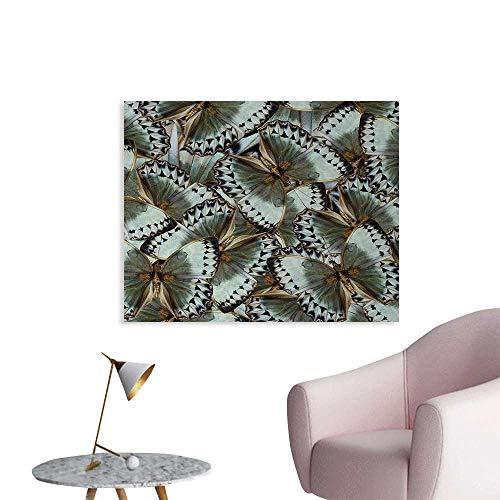 homehot Exotic Art Poster Butterflies Jungle Queen Animal Spiritual Wings Nature Moth Transform Print Photographic Wallpaper Almond Green Gold W48 xL32