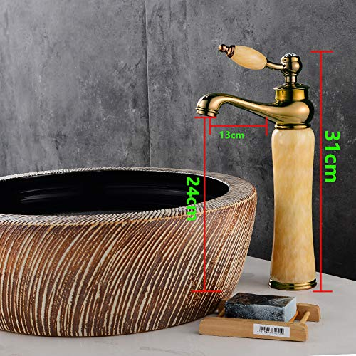 redating Topaz Basin Faucet hot and Cold Bathroom Toilet Mixed Jade Antique gold Copper Marble Hotel golden Black Jade Handle