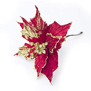 "Riverbyland 6 Pcs 9"" Glitter Poinsettia Flower Christmas Tree Ornament Red 90"