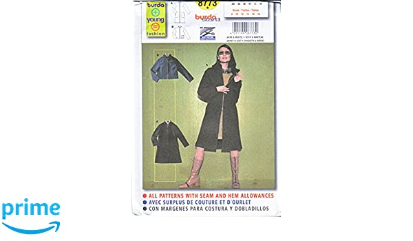Amazon.com: Burda Sewing Pattern 8773 Misses Sizes 8-18 Easy Zipper Front Jacket Coat: Arts, Crafts & Sewing