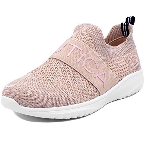 (Nautica Kids Girls Youth Fashion Sneaker Running Shoes -Slip On-West Deck Youth-Blush-5 )