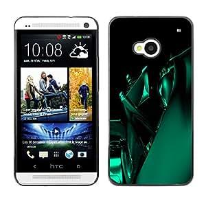 TopCaseStore / la caja del caucho duro de la cubierta de protección de la piel - Green Abstract - HTC One M7