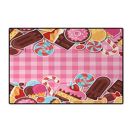 Atlanta Ice Cream (Ice Cream,Door-mat,Candy Cookie Sugar Lollipop Cake Ice Cream Girls Design,Bathroom Mat for Tub Non Slip,Baby Pink Chestnut Brown Caramel 32