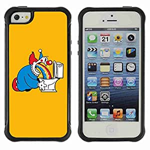 A-type Arte & diseño Anti-Slip Shockproof TPU Fundas Cover Cubre Case para Apple iPhone 5 / 5S ( Funny Clow & Rainbow )