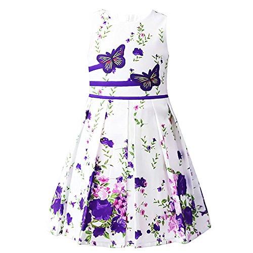 Jxstar Girls Dresses Flower Print Rose Double Bow Party Sundress Summer Swing