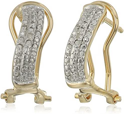 Sterling Silver Diamond Accent Wave Earrings with Yellow Gold Overlay