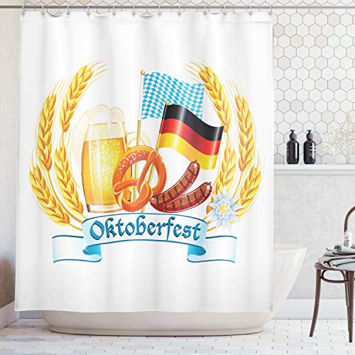 Ambesonne Festival Decorations Collection, Oktoberfest celebration design with sausage drink flags Wheat Stems banner, Polyester Fabric Bathroom Shower Curtain, 84 Inches Extra Long, Yellow Blue -