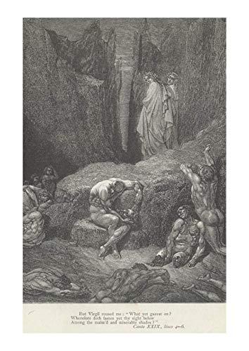 Canto 5 Matte Four - Spiffing Prints Gustave Doré - Dante's Inferno - Canto 29 Verses 4-6 - Large - Matte - Framed