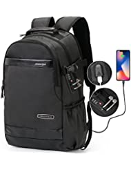 CrossGear Backpack Leather with USB Charging Port Anti-theft Business School Travel bag fit 15.6 inch computer...