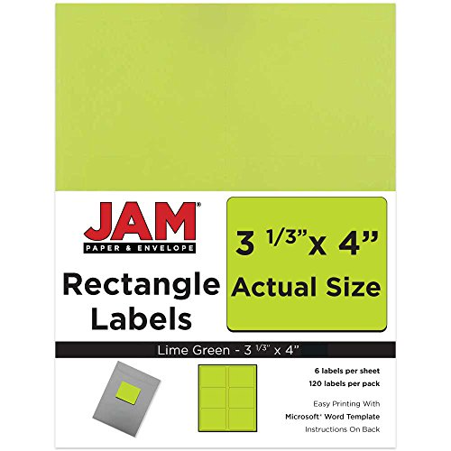 - JAM PAPER Shipping Address Labels - Large - 3 1/3 x 4 - Lime Green - 120/Pack