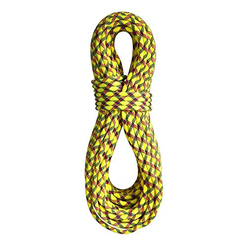 BlueWater Ropes 9.7mm Lightning Pro Double Dry Dynamic Single Rope (Yellow/Slate, 60M) ()