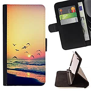 For Samsung ALPHA G850 Sunset Seagull Ocean Summer Orange Style PU Leather Case Wallet Flip Stand Flap Closure Cover