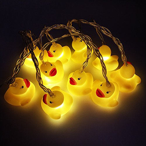 Rubber Decorations (10 LED Children's Room LED String Lights for Holiday Wall Window Tree Decorative Party Yard Garden Kids Bedroom Living Dorm Uses Squeeze Sound Squeaky - Duck)