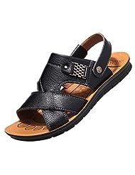 cnWay Mens Leather Flip Flop Open Toe Retro Buckle Walking Sandals Slippers
