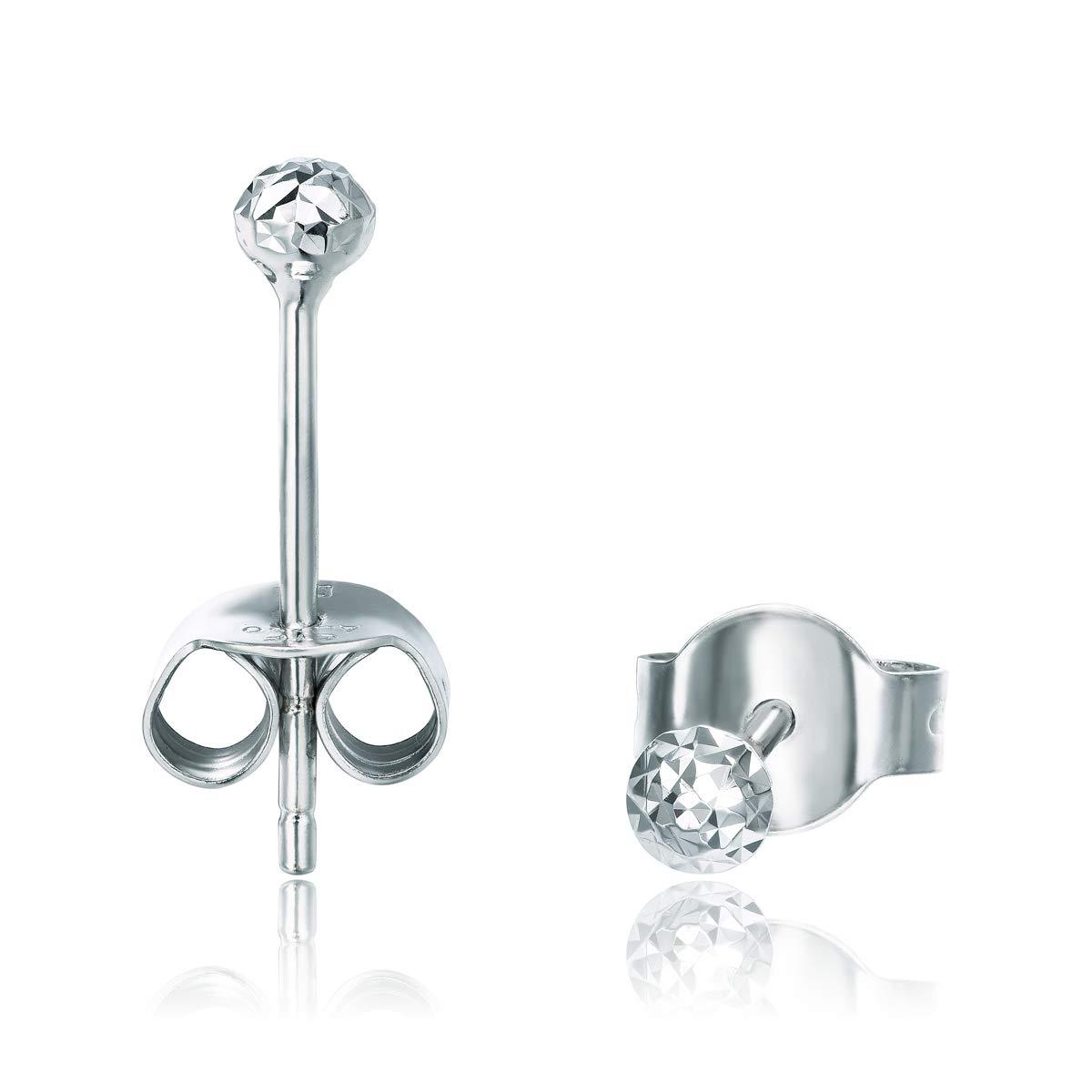 Chow Tai Fook 18K White Gold Petite Round Diamond Look Earrings
