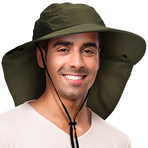 (Solaris Outdoor Fishing Hat with Ear Neck Flap Cover Wide Brim Sun Protection Safari Cap for Men Women Hunting, Hiking, Camping, Boating & Outdoor Adventures)
