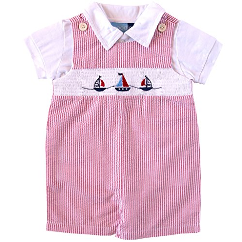 Good Lad Baby Boys Sailboat Embroidered Smocked Shortall Set, Red, 24M (Smocked Sailboat)