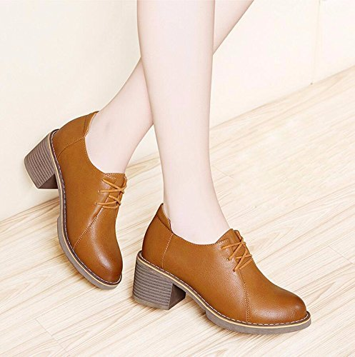 Single Shoes Female England KHSKX Head Thick Strap Of With In 5Cm Shoes Heeled High Round Khaki Shoes With Tether New Wild The 39 A FqYXS5Y