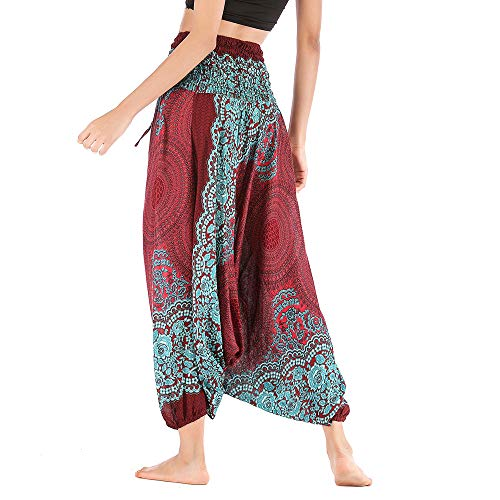 Harem Pants Women's Hippie Bohemian Yoga Pants One Size Aladdin Harem Hippie Pants Jumpsuit Smocked Waist 2 in 1 (Free, Wine) by BingYELH Yoga (Image #2)