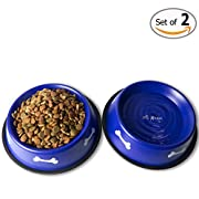 Amazon Lightning Deal 86% claimed: GPET Dog Bowl with Rubber Base, Blue 32 Ounce (Set of 2)