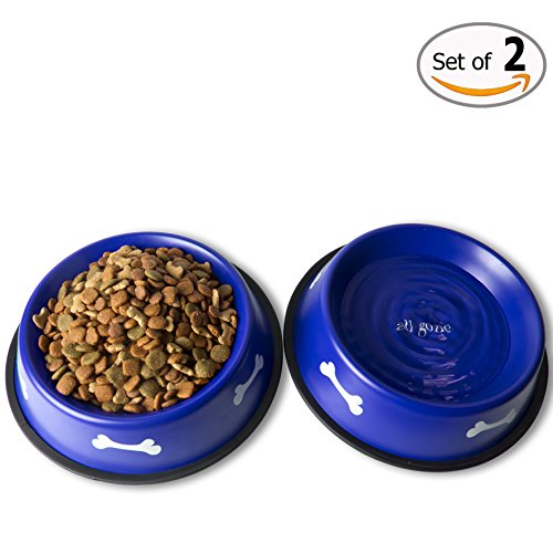 GPET-Dog-Bowl-with-Rubber-Base-Blue-32-Ounce-Set-of-2