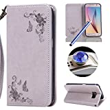 Galaxy S6 Retro Leather Case,Samsung Galaxy S6 Floral Wallet Case,Etsue Elegante Retro/Vintage Rose Flower Design Pu Magnetic Closure Exact Fit Strap Leather Wallet Protective Flip Case Cover for Samsung Galaxy S6+Blue Stylus Pen+Bling Glitter Diamond Dust Plug(Colors Random)-Rose,Grey