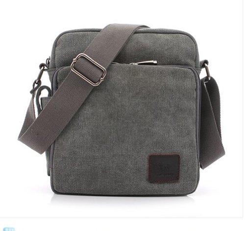 Tonwhar ® Canvas-Schultertasche, Messenger Bag, Aktentasche mit vielen Taschen Grau - Grau