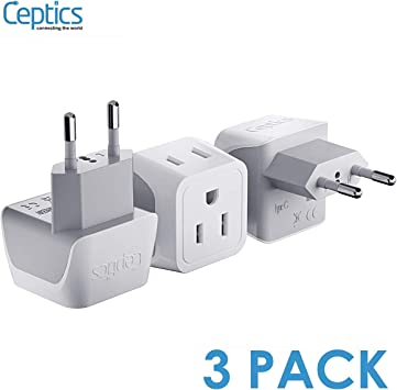 5x USA US To EU Europe Travel Charger Power Adapter Converter Wall Plug Home New