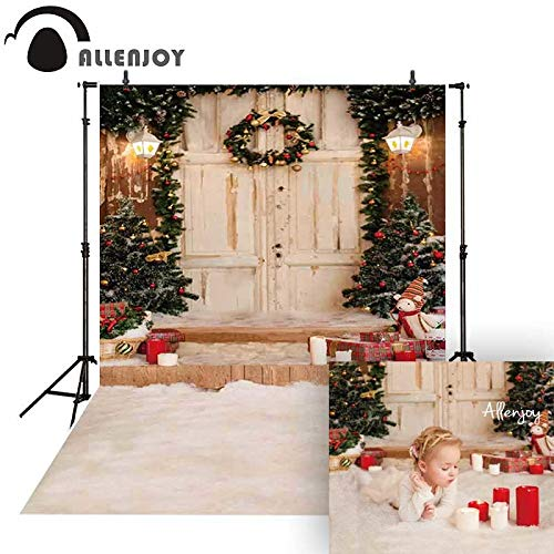 (VietNewYear Background - Photography Background Christmas Porch Wreath Wood Door Studio Backdrop for Photographer photocall Fabric photobooth 1 PCs)