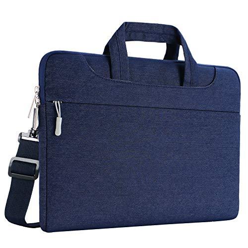 MOSISO Laptop Shoulder Bag Compatible 15-15.6 Inch MacBook Pro, Ultrabook Netbook Tablet, Ultraportable Protective Denim Fabric Carrying Handbag Briefcase Sleeve Case Cover, Navy Blue
