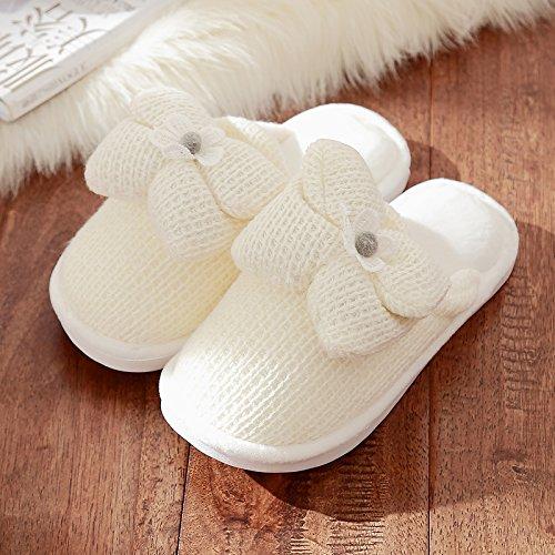 DogHaccd Zapatillas,Zapatillas de algodón grueso estancia femenina interior de invierno suave antideslizante, zapatos zapatillas de felpa lana precioso macho Blanco3