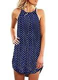 Asvivid Womens Casual Polka Dot Printed High Neck Summer Sleeveless Vacation Daily Dress Plus Size 1X Blue