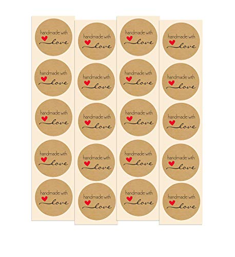 Handmade with Love Stickers | 100 Pack | 1.5