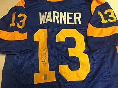 Kurt Warner Autographed Signed St. Louis RamsCustom Jersey GTSM Warner Player Hologram