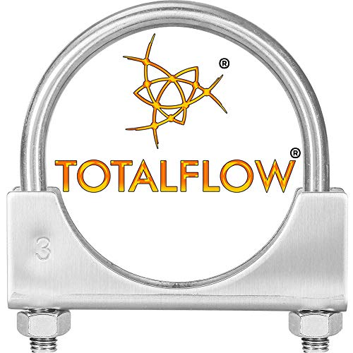 "TOTALFLOW Natural Finish 3"" TF-U300 304 Stainless Steel Saddle U-Bolt Exhaust Muffler Clamp-3 Inch"