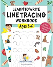 Learn to Write Line Tracing Workbook - Ages 3-6: Pen control, handwriting, and drawing practices for kindergarten toddlers and preschool kids incl. coloring pictures, puzzles, and cognitive games.
