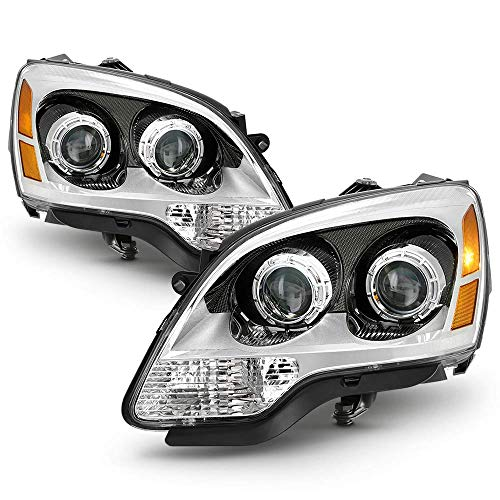 For 2007-2012 GMC Acadia Halogen Model Chrome Bezel OE-Style Projector Headlight Housing Headlamp Assembly Driver & Passenger Side Replacement Pair (Gmc Headlight Bezel)