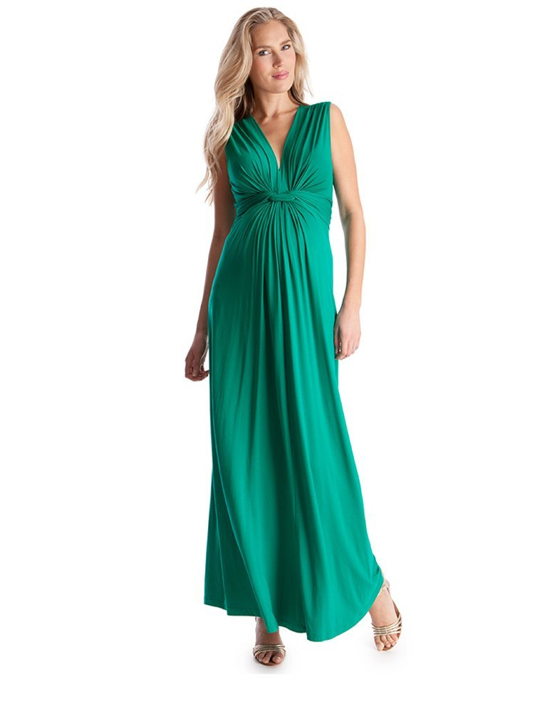 Seraphine Emerald Knot Front Maternity Maxi Dress