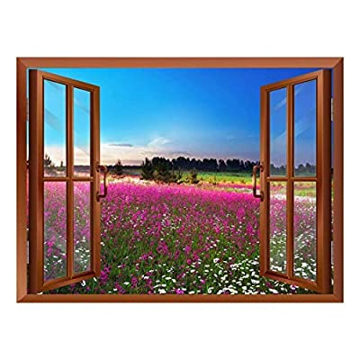 Lovely Work of Art, Sunrise Over a Blossoming Field Removable Wall Sticker Wall Mural, Top Quality Design