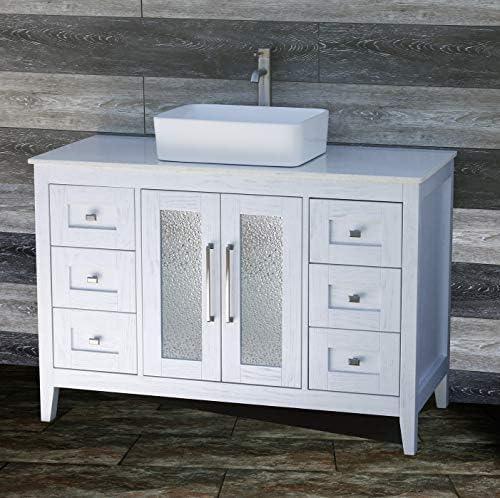48 Bathroom Vanity Cabinet White Tech Stone Quartz Vessel Sink Faucet MC2