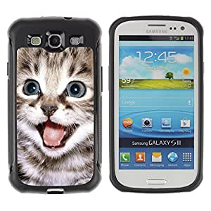 ZETECH CASES / Samsung Galaxy S3 I9300 / TINY SMALL KITTEN FUR PET MAINE COON / minúsculo pequeño gatito piel animal doméstico Maine coon / Robusto Caso Carcaso Billetera Shell
