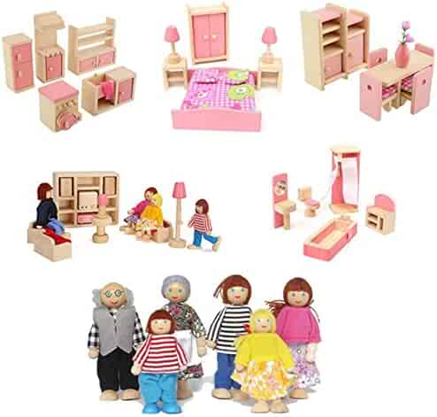 907280fe6 Liushuliang 5 Sets of Colorful Wooden Dollhouse Furniture (41 Pieces) with  6 People Wooden