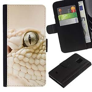 All Phone Most Case / Oferta Especial Cáscara Funda de cuero Monedero Cubierta de proteccion Caso / Wallet Case for Samsung Galaxy S5 Mini, SM-G800 // White Snake Macro