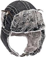 City Hunter Checkered Jacquard Trapper Bomber Cap Hat w/Faux Fur