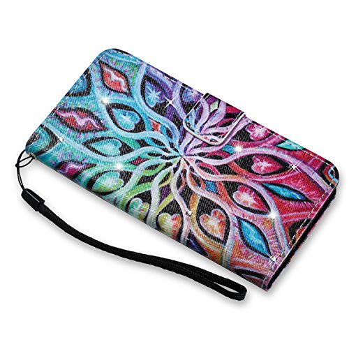 Hülle für Samsung Galaxy S6 Edge,Galaxy S6 Edge Schutzhülle,Galaxy S6 Edge Handyhülle Lederhülle,Hpory Luxus Bling Kristall Glitzer Strass Diamant Colorful Painting PU Leather Ledertasche Lederhülle B Blumen
