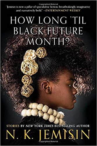 Cover of 'How Long 'Til Black Future Month?' featuring a profile of a Black woman wearing pearls and hair ornaments.