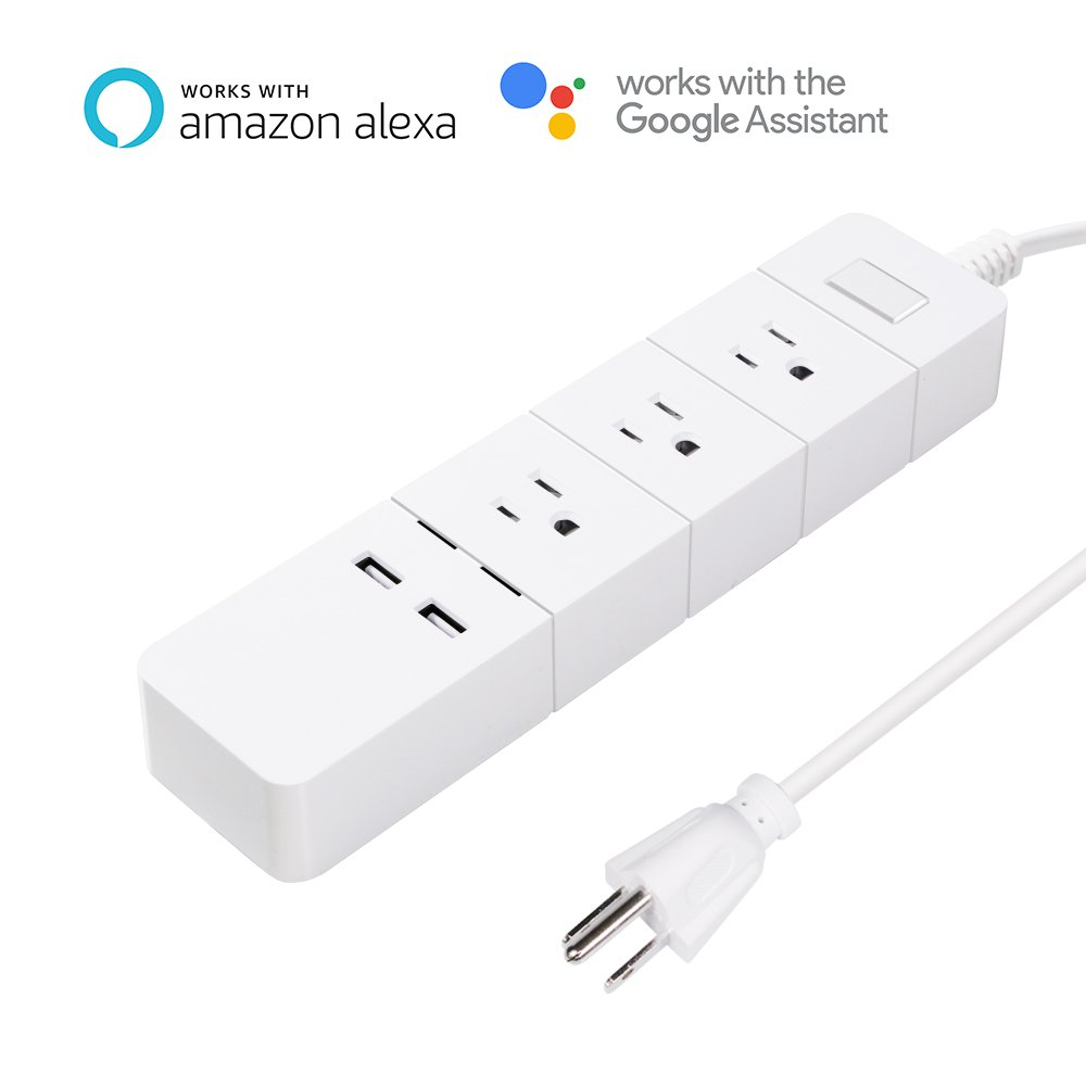Smart Wifi Surge Protector, Compatible with Alexa and Google Assistant, With 3 AC + 2 USB Ports, Individual Control, No Hub Required, Voice Control, Timer, Auto On-Off